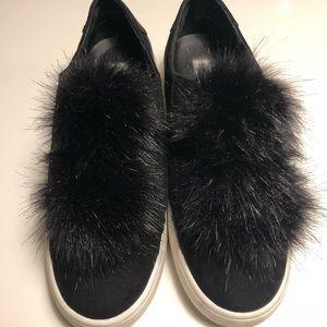 Steve Madden fur ball platform sneakers